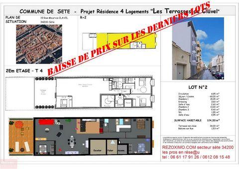 T4 traversant neuf 124.50 m2 terrasse 34 m2 , parking . vente en VEFA ( vente sur plan ) . appartement T4 en centre ville au 2 eme étage d'une petit