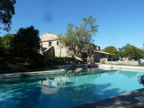 Looking to run a B&B close to Montpellier - this property offers huge potential - with its rolling countryside views, this peaceful traditional Mas Cevenol with 600 m2 of floor space, sits on about 40 ha of land planted with trees, terraces and a poo...